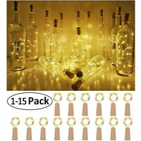 20 LED Wine Bottle Light Cork Shaped String Fairy Wire Night Light Colorful Lot