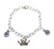 """Chain 7"""" Dainty Girls Silver Toned Charm Bracelet Queen Crown Purple Flowers"""