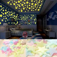 100 Pcs Brille dans le Noir Étoiles Autocollant Mural Étoilé Chambre Filles
