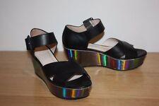 ESCADA SPORT Black Leather & Silver Platform Sandals Heels sz 38 7 AU [dc