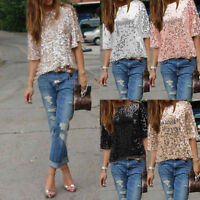 Women Casual Sequin Half Sleeve Blouse T-Shirt V Neck Clubwear Tops Plus Size