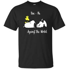 Peanuts Snoopy Dog Woodstock YOU and Me against the World BLACK UNISEX T Shirt