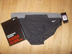 NIKE PERFORMANCE Victory Colorblock Black/Gray Brief Swimwear Sz 38 NWT