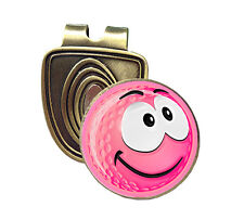 PINK SMILEY HAPPY FUSION CAP CLIP & MAGNETIC GOLF BALL MARKER IN BRONZE