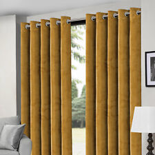 Plush Crushed Velvet Eyelet Ring Top Ready Made Fully Lined Curtains Pair Panel