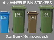 5 x Wheelie Bin Numbers Custom House Number Road Street Vinyl Graphic Stickers
