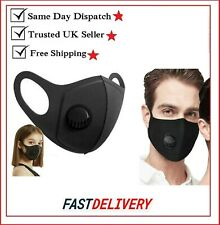 Face Washable Air Purifying Mouth Nose Filter Respirator UK Seller-black