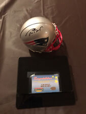 Tom Brady Signed New England Patriots Mini Helmet Mounted Memories w DisplayCase
