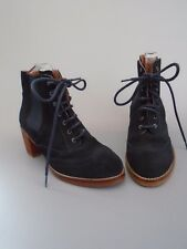 NEW WOMENS SIZE 5 MIDNIGHT NAVY BLUE SUEDE  LEATHER BERTIE  BROGUE ANKLE  BOOTS