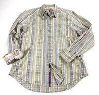 ROBERT GRAHAM Mens XL Button-Down FLIP CUFF Stripe X LARGE Long Sleeve Shirt