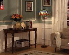Tiffany Style Grape Vine Floor Lamp Double E27 Light Stained Glass Lighting