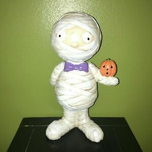 Halloween Decor Gus the Mummy W/ Bow Tie Holding Jack-O-Lantern Pumpkin