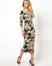 Cotton Round Neck 3/4 Sleeve Floral Dresses for Women