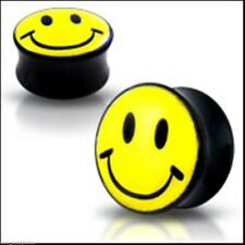 Plugs 04mm/6 Gauge Body Jewelry Pair-Smiley Face Black Acrylic Double Flare
