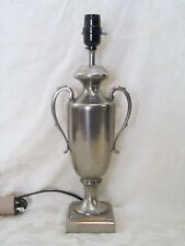 Pewter Colored Table Lamp Loving Cup Design with Two Handles All Metal Body