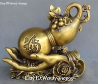 """12"""" Chinese Pure Bronze Fengshui Buddha Hand Bottle Gourd Peony Flower Statue"""