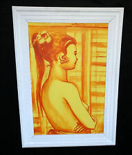"""1962 Balinese Oil Painting """"Semi Nude Young Girl from Side"""" by Agus Djaya (Lol"""