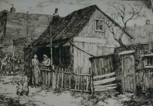 Vintage Detailed Etching Of a Farmyard Scene by WPA NY Artist George Renouard