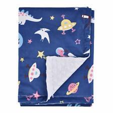"Boritar Soft Baby Blanket with Minky Raised Dotted Navy Universe Dinosaur 30x40"""