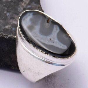 Solar Agate Ethnic Handmade Men's Ring Jewelry US Size-8.75 AR 44097