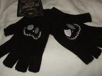 NWT Black The Nightmare Before Christmas Jack Face Disney Knit Fingerless Gloves