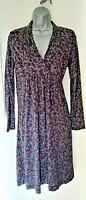Kew Jersey Wrap Top Dress - Size M (10/12) - Purple Ditsy Floral Print - VGC