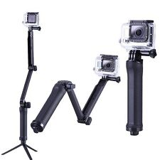 Three 3 way Selfie Handheld Stick Monopod Folding Holder for GoPro hero 4 3+ 3 2