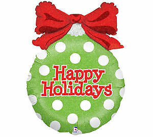 """33"""" Happy Holidays polka dots ornament shape foil balloon Lime Green w/ Red Bow"""