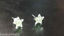 Boucles d'oreille étoiles / strass verts  montées sur clous métal