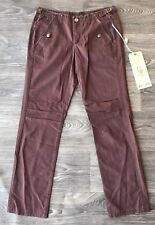 NWT Da Nang Women's Cotton Casual Pants w/ Copper Buttons Coffee Purple