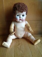 """Vintage American Character Tiny Tears Doll W/ Caracul Wig/ Rubber Body 20"""" Tlc"""