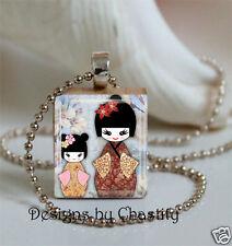 Kokeshi Dolls Scrabble Necklace Altered Art Charm Pendant Lucky Doll