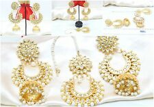 Indian Bollywood Partywear White Maang Tikka Earring Set With Kaan Chain Jewelry