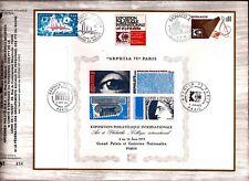 bl1PM FRANCE: bloc N°7 + timbre Monaco et Andorre, oblitérés ARPHILA75 1°jour