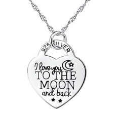 I Love You to The Moon and Back Letter Heart Charm Pendant Necklace Gift Dreamed
