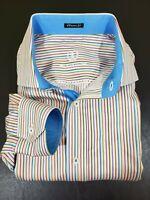 Bugatchi Uomo Classic Fit Mens XL Multicolor Striped Button Up Dress Shirt