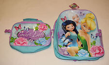 Disney Fairies Tinkerbell Girks Large Printed Backpack & Lunch Bag New