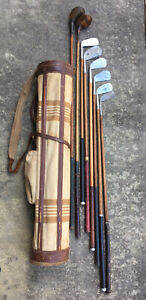 Antique hickory wood shaft Golf Clubs and Plaid Canvas Leather Stovepipe Bag