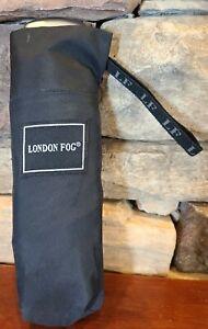 London Fog Umbrella Slim Line Compact Flat Automatic -100% Nylon- Black Preowned