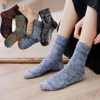 Fashion Socks Women Retro Flowers Soft Hosiery Cotton Casual Harajuku Socks*-