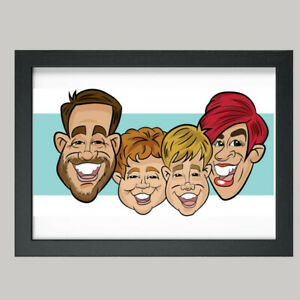 4 Person Digital Caricature From Photo - Personalised - Digital File (JPEG)