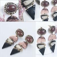 Women Retro Earring Alloy Natural Stone Pendant Dangle Ear Drop Earrings Jewelry