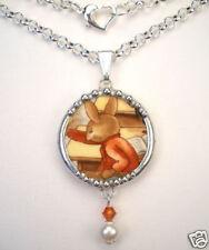 Bunnykins Bunny Rabbit Necklace Broken China Jewelry Vintage Charm Pendant