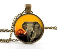 Elephant Necklace Pendant - African Savanna Sunset Animal Jewelry Wildlife Gift