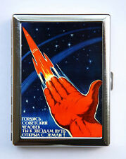 Russian soviet space rocket Cigarette Case Wallet Business Card Holder sci-fi