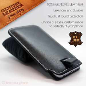 NOKIA✔Quality Luxury Genuine Leather Pull Tab Slide In Case Cover Sleeve Pouch