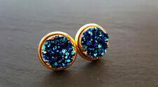 Cosmic Blue Druzy Crystal Gold Plate Stud Earrings