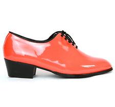 "Men's glossy orange plain toe closed lacing hand made 1.77""heels dress shoes"