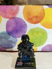 4 X SWAT soldier minifigs Blue with weapon,helmet,armor, fit with other brands