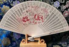 Vintage Chinese Asian Wood Folding Hand Fan with Stand
